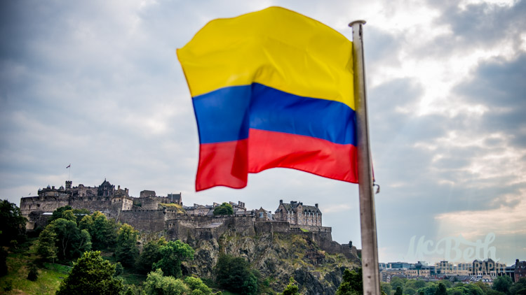 Columbian flag and Edinburgh Castle