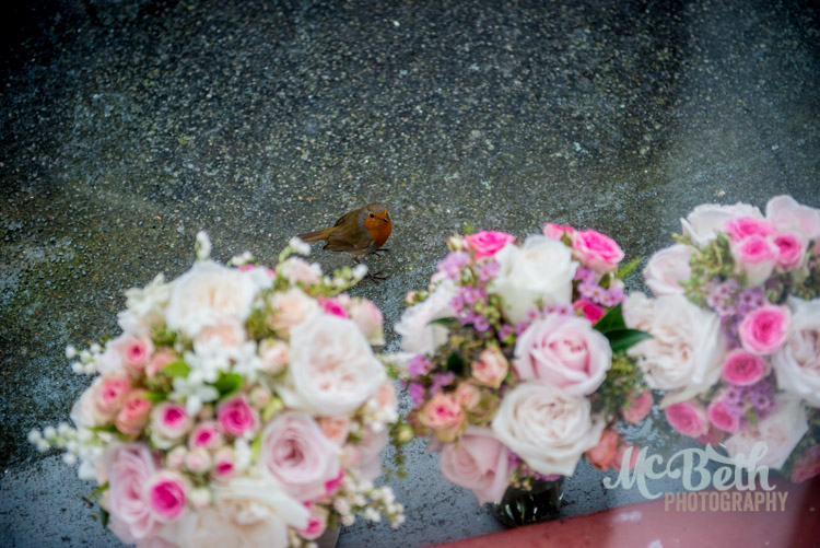 wedding flowers and robin red breast
