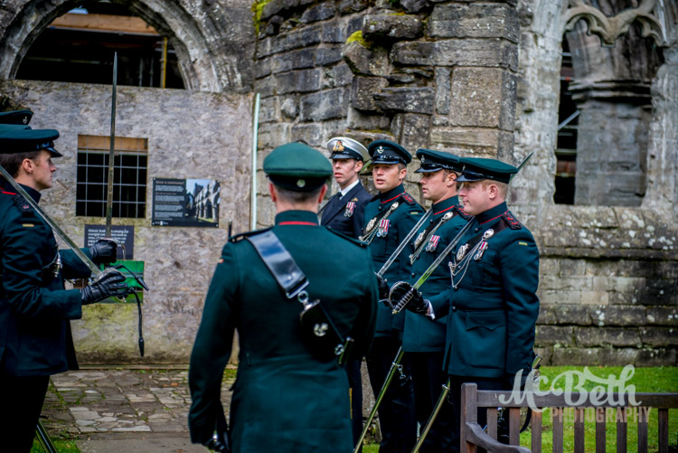 Riflemen practice the sword arch at Dunkeld Cathedral