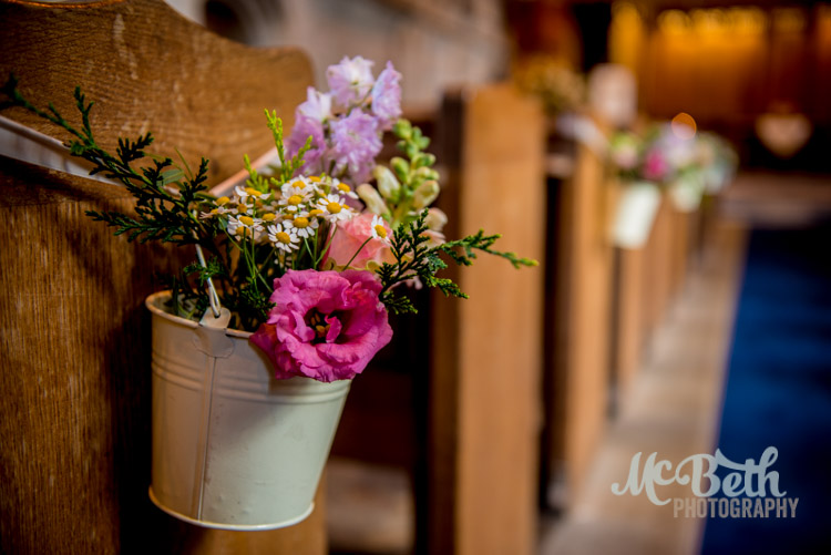 Wedding flowers at Dunkeld Cathedral