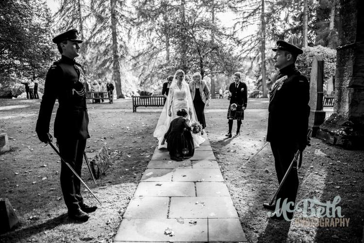 The bride arrives at Dunkeld Cathedral