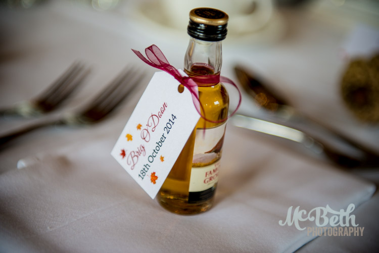 table favour at Brig O Doon house hotel