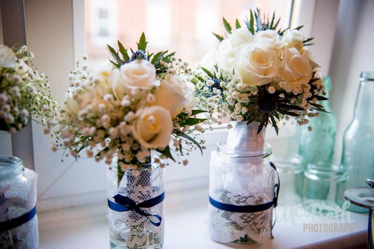 wedding flowers in jam jars edinburgh