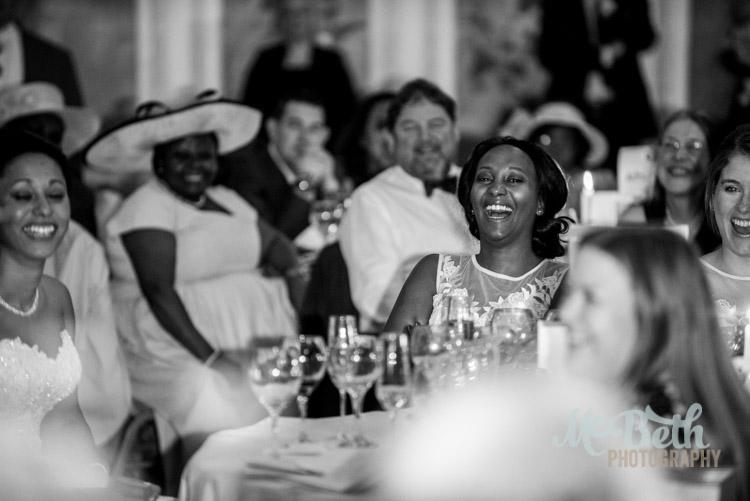 laughing wedding guest at Edinburgh wedding