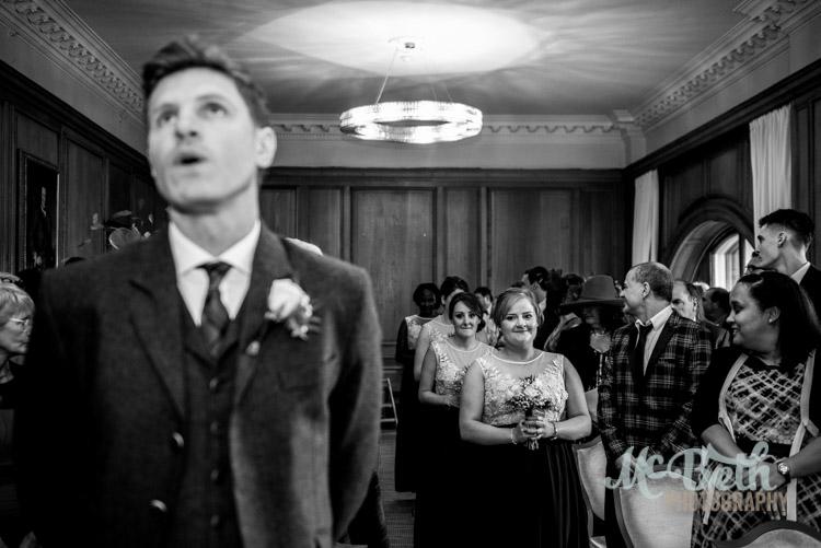 Nervous groom at Edinburgh wedding