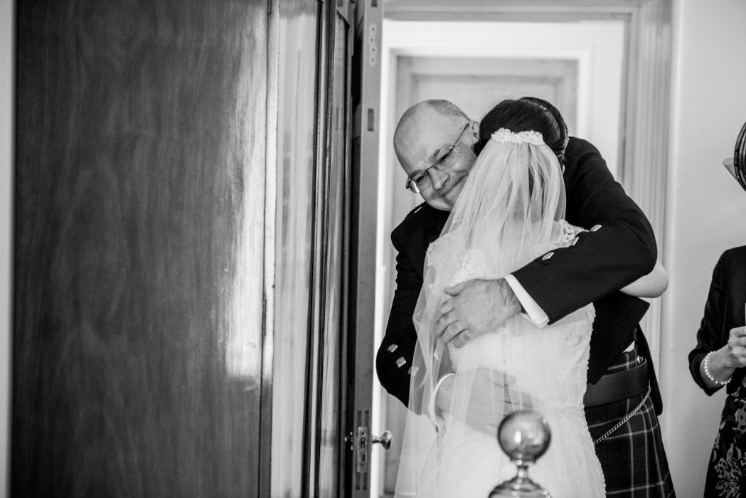 Bride and dad at Crear wedding.