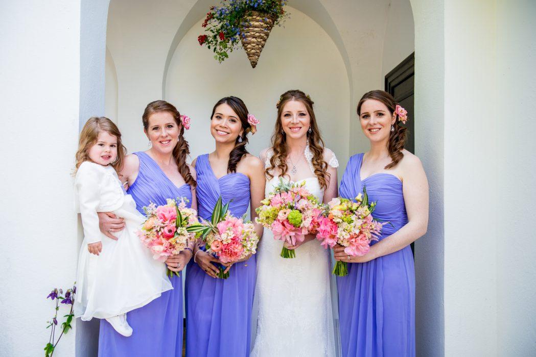 Bride and bridesmaids in Edinburgh.
