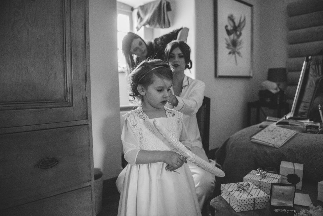 morning prep at Aikwood Tower wedding