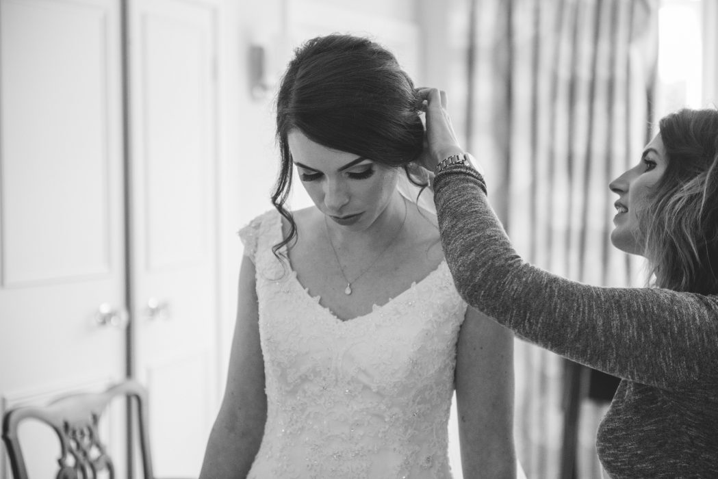 Bride getting ready at Dunglass Estate