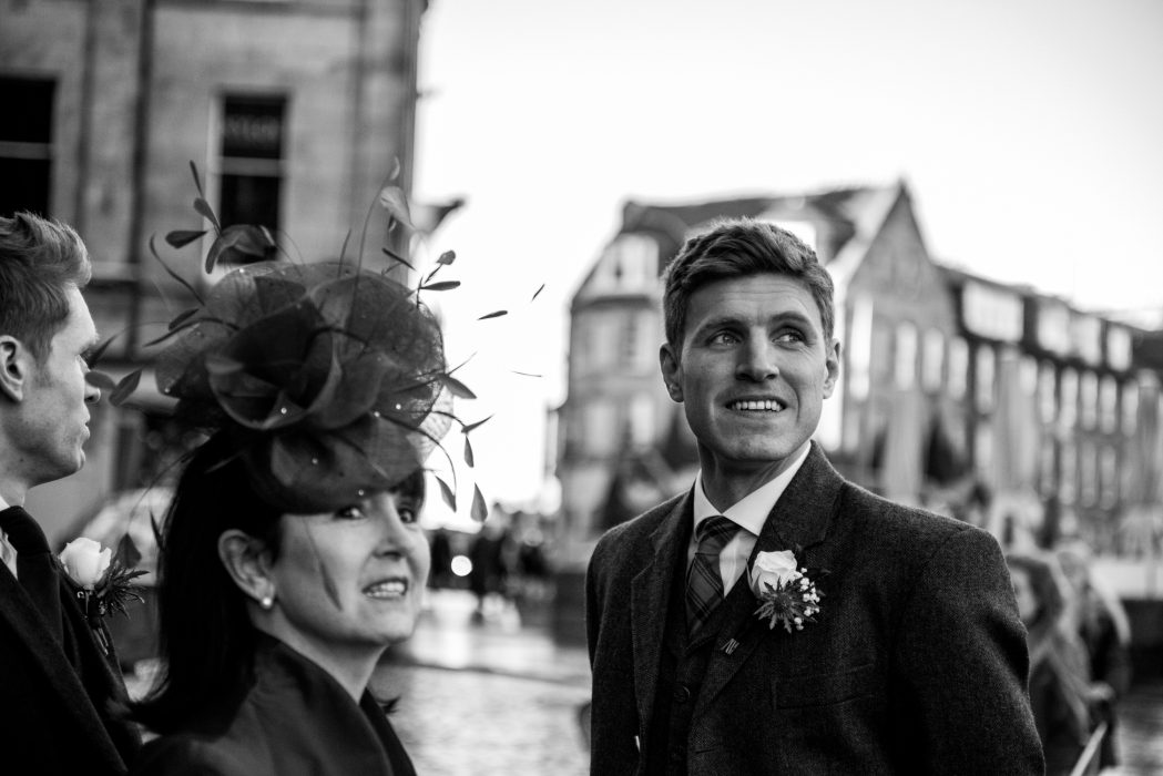 Groom and mum outside the Caledonian Hotel in edinburgh