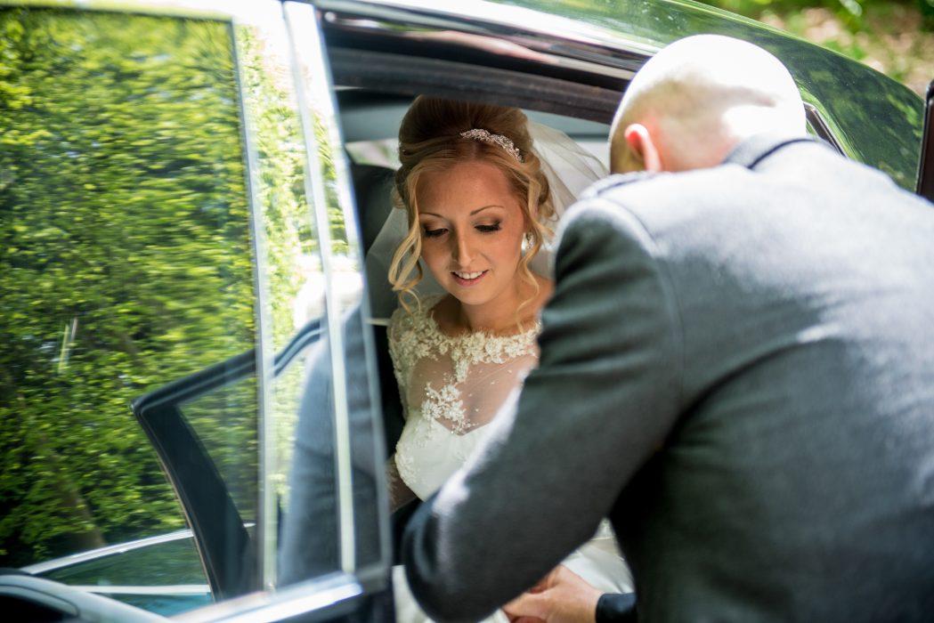 Bride arrives at Glencorse House.
